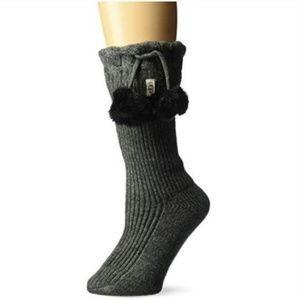 UGG Women's Pom Short Rainboot Sock Charcoal